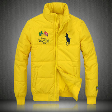 doudoune ralph lauren coats man 2013 mode big pony drapeau national brazil jaune
