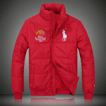 doudoune ralph lauren coats man 2013 mode big pony drapeau national espagne rouge