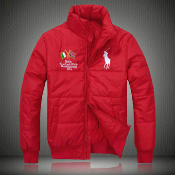 doudoune ralph lauren coats man 2013 mode big pony drapeau national italie rouge