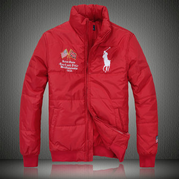 doudoune ralph lauren coats man 2013 mode big pony drapeau national usa rouge