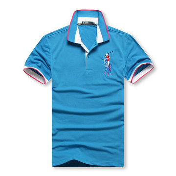 high collar polo ralph lauren man cotton t-shirt breathable 2013 choi ma blue