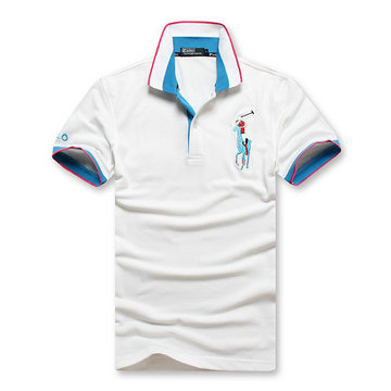 high collar polo ralph lauren man cotton t-shirt breathable 2013 choi ma white