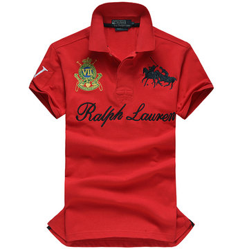 high collar polo ralph lauren man cotton t-shirt breathable 2013 race iv 2 red