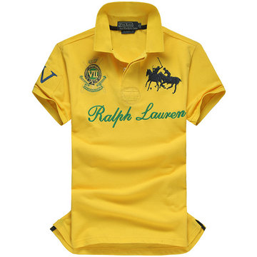 high collar polo ralph lauren man cotton t-shirt breathable 2013 race iv 2 yellow