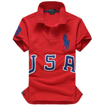 high collar polo ralph lauren man cotton t-shirt breathable 2013 three usa red