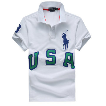 high collar polo ralph lauren man cotton t-shirt breathable 2013 three usa white