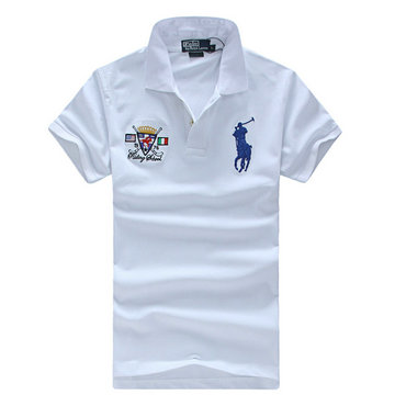 high neck man t-shirt new listing polo ralph lauren 2013 italy cotton pl2211 white blue