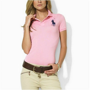 polo ralph lauren wholesale t-shirt cotton high collar women france 2013 big pony lq pink black