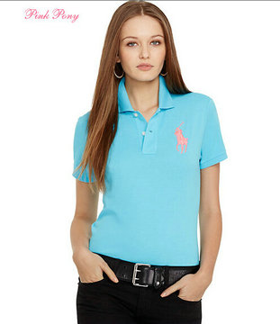 polo ralph lauren newport women tee shirt pink pony blue