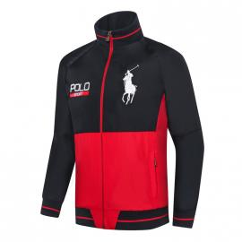 ralph lauren blouson man long sleeves col stand sport black red