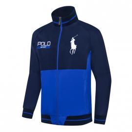 ralph lauren blouson man long sleeves col stand sport polo blue