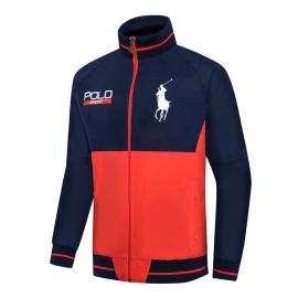 ralph lauren blouson man long sleeves col stand sport polo orange