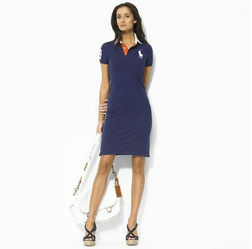 ralph lauren robe femmes coton mode blue orange