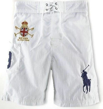ralph lauren short de bain man-couronne blance,short de bain court