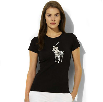 ralph lauren tee shirt women big pony center black,ralph lauren women t-shirt pas cher