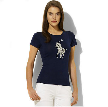 ralph lauren tee shirt women big pony center deep blue