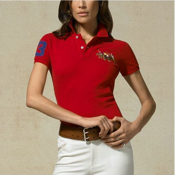 ralph lauren tee shirt women two pony red