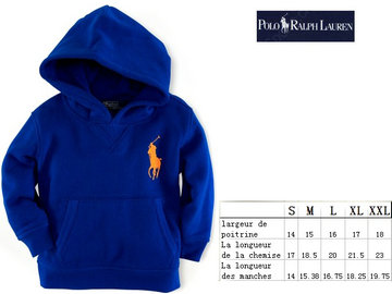 ralph lauren children bebe jacket a capuche big pony bleu pony orange,pas cher ralph lauren children