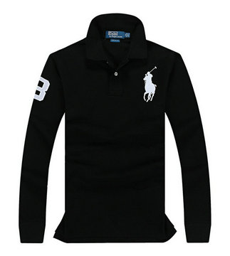 ralph lauren long t-shirt club de coton noir pony blanc