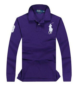 ralph lauren long t-shirt club de coton purple pony blance