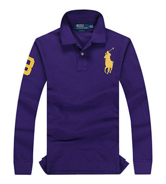 ralph lauren long t-shirt club de coton purple pony or