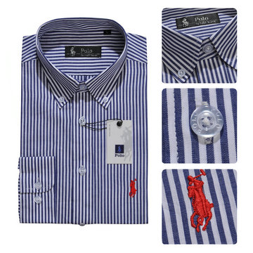 pas cher ralph laure chemises long sleeves 2013 man polo france coton rayures caine bleu