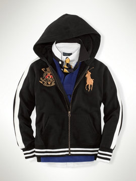 polo ralph lauren new style  hoodie jacket couronne imperiale big pony zipper noir