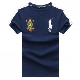 ralph lauren t-shirt col rond slim on sale big pony 3 an crown r66247 blue