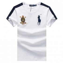 ralph lauren t-shirt col rond slim on sale big pony 3 an crown r66247 white