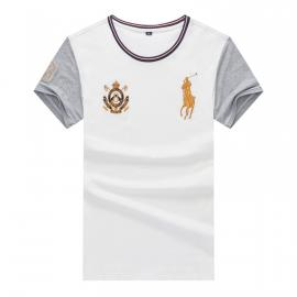ralph lauren t-shirt col rond slim on sale big pony 8 an crown r66261 blanc gris