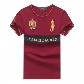 ralph lauren t-shirt col rond slim on sale big pony 8 an crown r66262 vin rouge