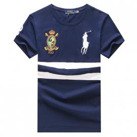ralph lauren t-shirt col rond slim on sale big pony an crown r66246 blue