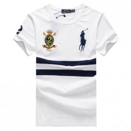 ralph lauren t-shirt col rond slim on sale big pony an crown r66246 white