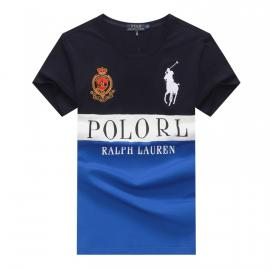 ralph lauren t-shirt col rond slim on sale big pony rl an crown r66258 blue