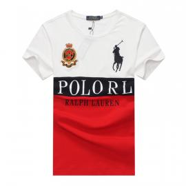 ralph lauren t-shirt col rond slim on sale big pony rl an crown r66258 rouge