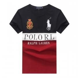ralph lauren t-shirt col rond slim on sale big pony rl an crown r66258 vin rouge