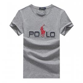 ralph lauren t-shirt col rond slim on sale big pony r388 gris