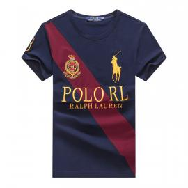 ralph lauren t-shirt col rond slim on sale big pony stripe r66263 bleu