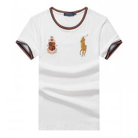 ralph lauren t-shirt col rond slim on sale pony electric rust r66260 blanc