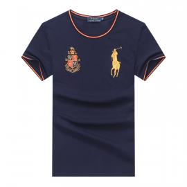 ralph lauren t-shirt col rond slim on sale pony electric rust r66260 bleu