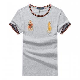 ralph lauren t-shirt col rond slim on sale pony electric rust r66260 gris