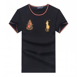 ralph lauren t-shirt col rond slim on sale pony electric rust r66260 noir