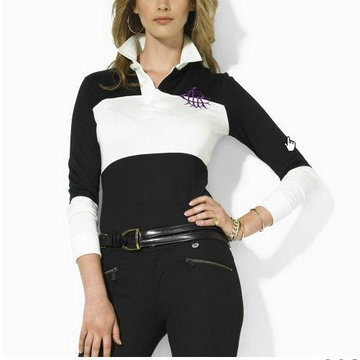 ralph lauren long t-shirt women couronne black white,achat garanti ralph lauren manche longue