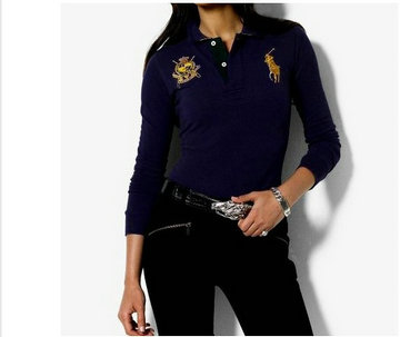 ralph lauren long t-shirt women couronne blue,cool polo ralph lauren t-shirt