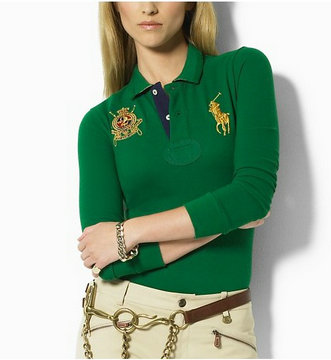 ralph lauren long t-shirt women couronne green,ralph lauren women long t-shirt discount
