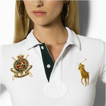 ralph lauren long t-shirt women couronne white gold,polo long sleeves pas cher