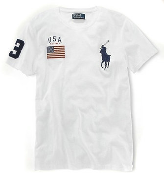 ralph lauren t-shirt usa flag etats-unis biy pony blance