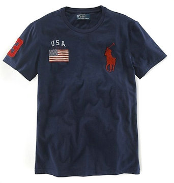ralph lauren t-shirt usa flag etats-unis biy pony blue rouge pony