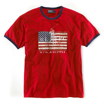 ralph lauren t-shirt usa flag etats-unis center rouge
