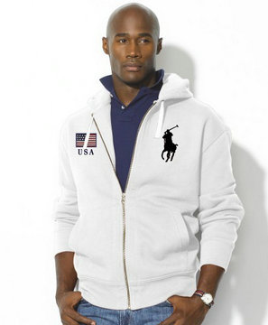 sweat capuche ralph lauren jacket usa big pony blance